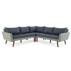 All-Weather Wicker Albany Outdoor Corner Sectional Sofa Gray - Alaterre Furniture