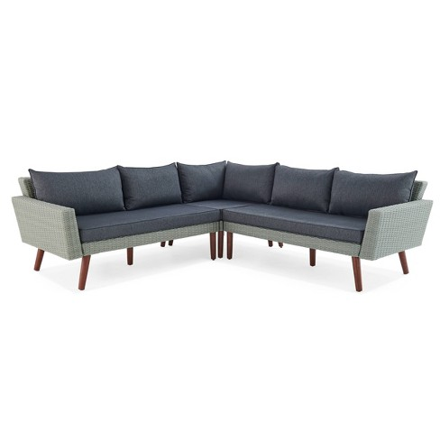 All-Weather Wicker Albany Outdoor Corner Sectional Sofa Gray - Alaterre Furniture : Target