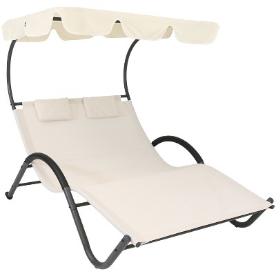 Sunnydaze Outdoor Double Chaise Lounge with Canopy Shade and Headrest Pillows, Beige