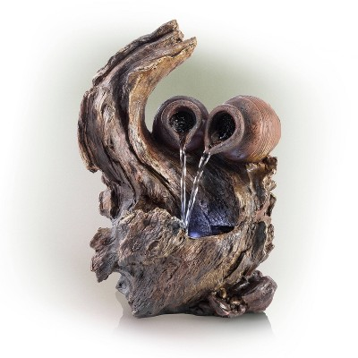 """Alpine 14"""" Two Jars on Tree Branch Tabletop Fountain Brown"""