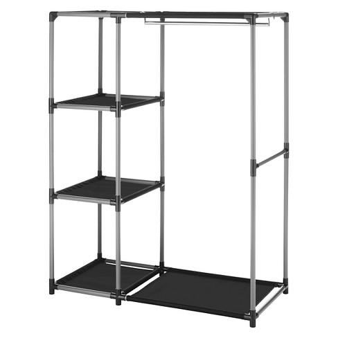Whitmor Spacemaker Garment Rack And Shelves Black - image 1 of 2