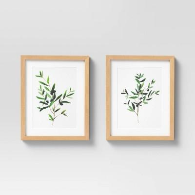 "(Set of 2)12"" x 15"" Olive I Framed Under Glass with Mat - Threshold™"