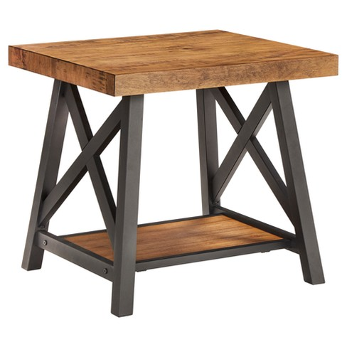 Lanshire Rustic Industrial Metal & Wood End Table - Inspire Q - image 1 of 7