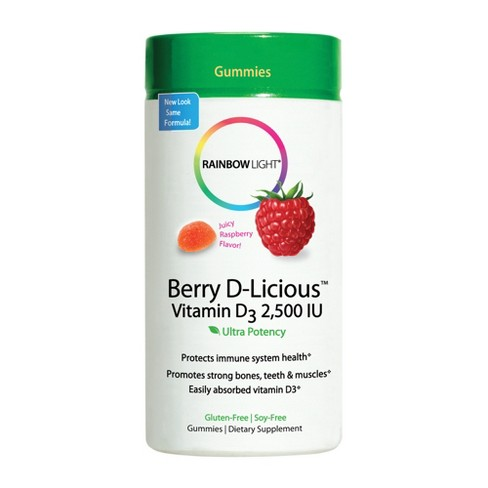 Rainbow Light D-Licious Vitamin D Dietary Supplement Gummies - Berry - 60ct - image 1 of 3