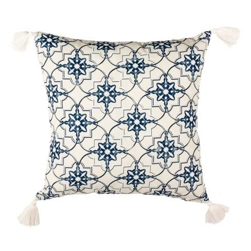 Mariella Square Throw Pillow White/Blue - Safavieh - image 1 of 3