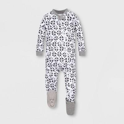Burt's Bees Baby® Baby Girls' Stamped Hearts Organic Cotton Footed Sleeper - Gray/White 12M