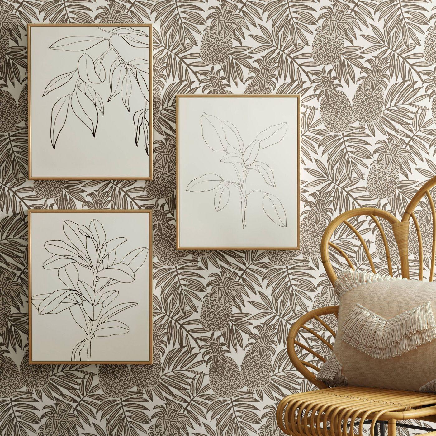 "Set of 3 16"" X 20"" Leaf Illustrations Framed Wall Canvas - Opalhouse™ - image 2 of 6"