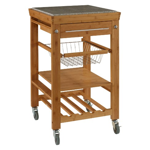 Kitchen Cart With Granite Top Wood Natural Linon Home Decor