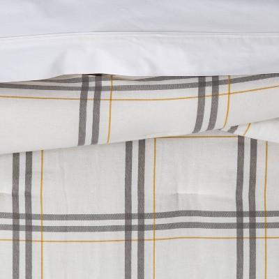 Flannel Plaid Comforter & Sham Set Cream & Gray - Threshold™ : Target