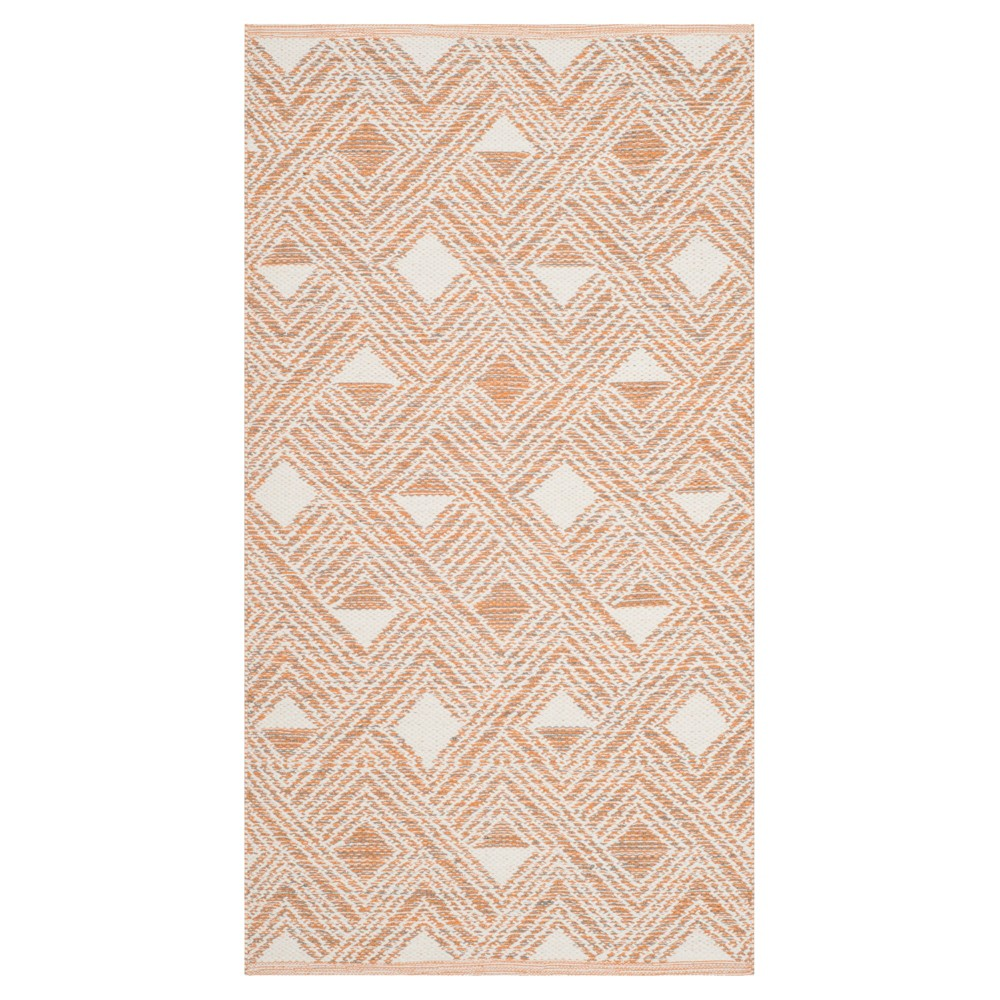Peach/Ivory (Pink/Ivory) Geometric Woven Accent Rug 2'3