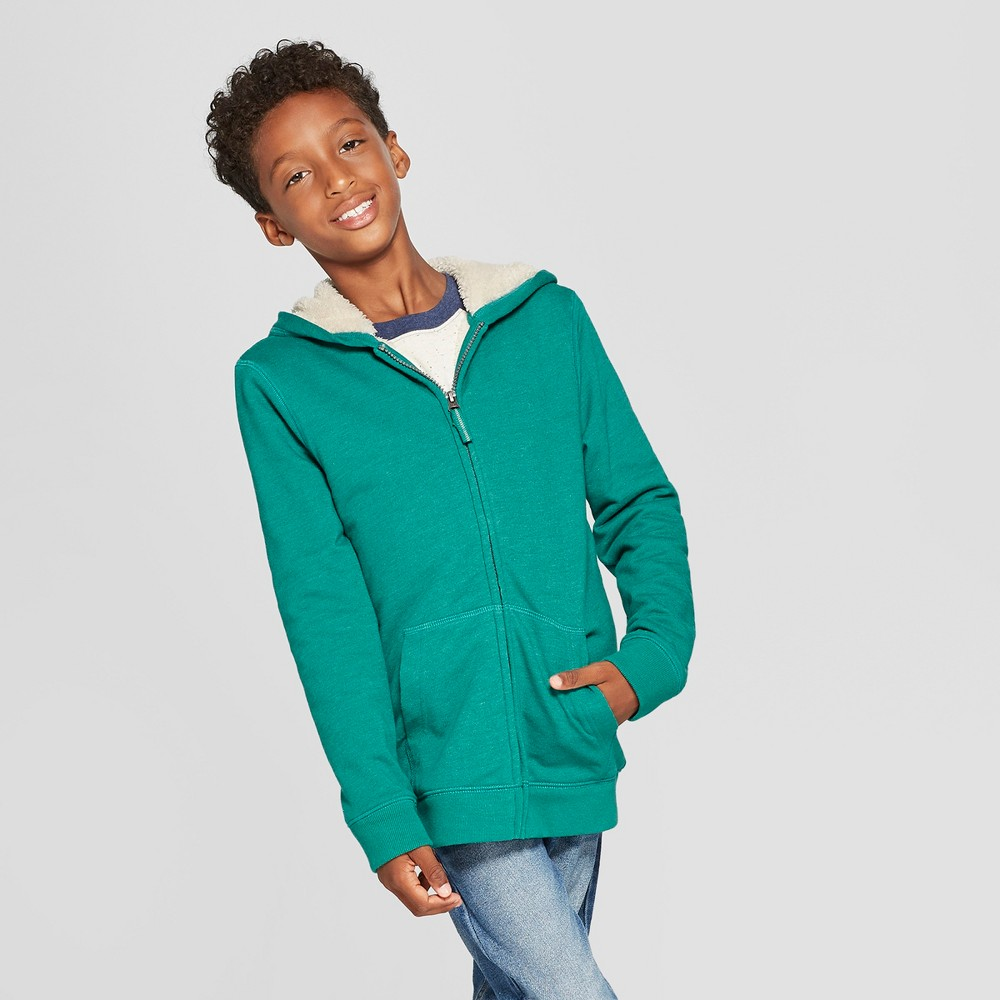 Boys' Sherpa-Lined Sweatshirt - Cat & Jack Green S