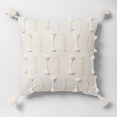 Yarn Applique Square Throw Pillow White - Opalhouse™