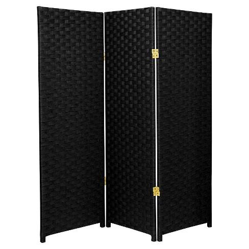 4 Ft Tall Woven Fiber Room Divider 3 Panels Oriental Furniture