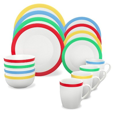 Vremi 16 Piece Multicolor Porcelain Dinnerware Set with 4 Dinner Plates, 4 Dessert Plates, 4 Salad/Soup Bowls, & 4 Coffee/Tea Mugs