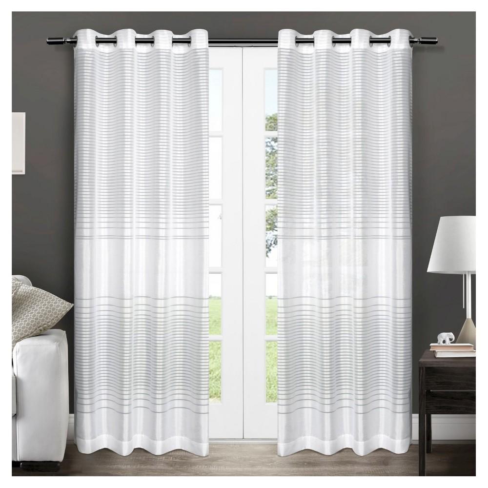 Pesaro Striped Sheer Grommet Top Window Curtain Panels White (54