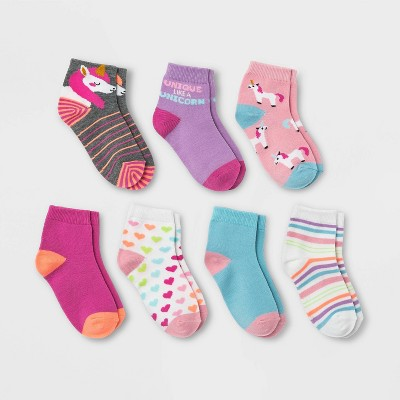 Girls' 7pk Unicorn Ankle Socks - Cat & Jack™