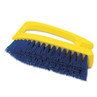 Rubbermaid Commercial FG648200COBLT Long Handle 6 in. Scrub Brush - Yellow/Blue