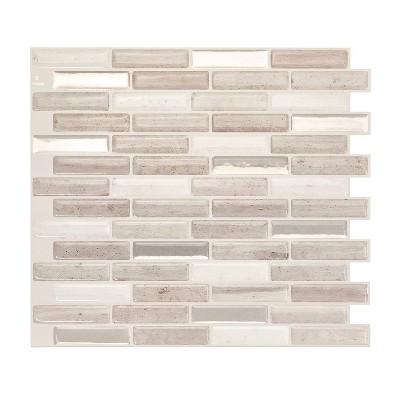 "Smart Tiles 3D Peel and Stick Backsplash 4 Sheets of 10.20"" x 9"" Kitchen and Bathroom Wallpaper Milenza Vasto"