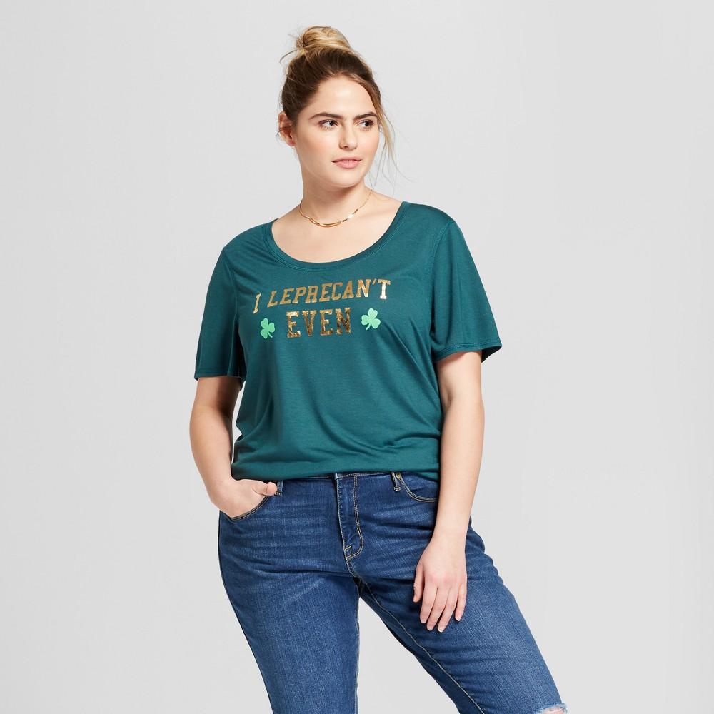 Women's Plus Size St. Patrick's Day I Leprecan't Even Scoop Neck Short Sleeve Graphic T-Shirt - Grayson Threads (Juniors') - Green 3X