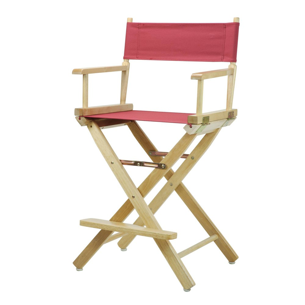 Director S Chair Counter Height Canvas Burgundy Natural Flora Homes