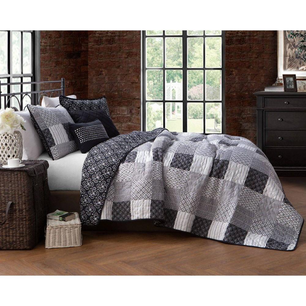 Image of Geneva Home Fashions Twin 4pc Avondale Manor Evangeline Quilt & Sham Set Black