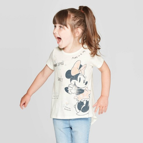 Toddler Girls' Minnie Mouse Short Sleeve Graphic T-Shirt - Ivory - image 1 of 3
