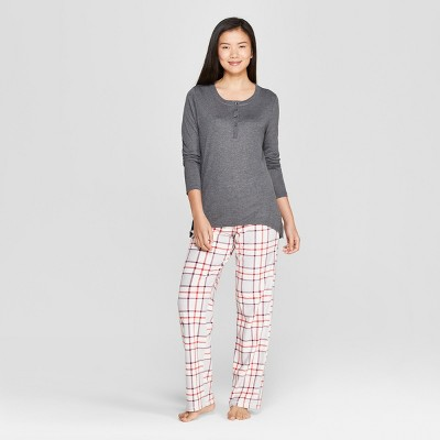 Women s Plaid Cozy Fleece Pajama Set – Gilligan   O Malley™ Charcoal ... 7c9f8db3c