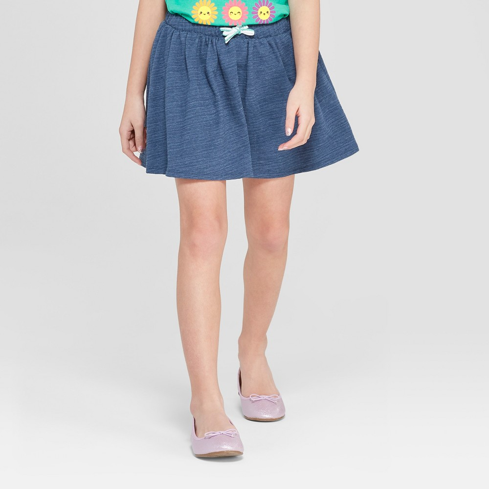 Girls' Knit Scooter Skirt - Cat & Jack Faux Denim XS, Blue