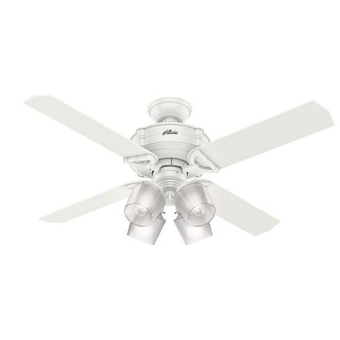 Hunter Fan Company 54184 Brunswick 52 Inch Fresh White Ceiling Fan With Light Kit And 4 Fresh White Grey Oak Reversible Blades Target