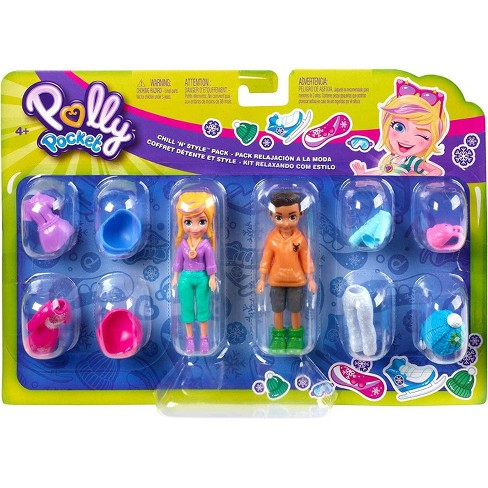 New Polly Pockets Polly doll in pink an blue dress  ages 4+