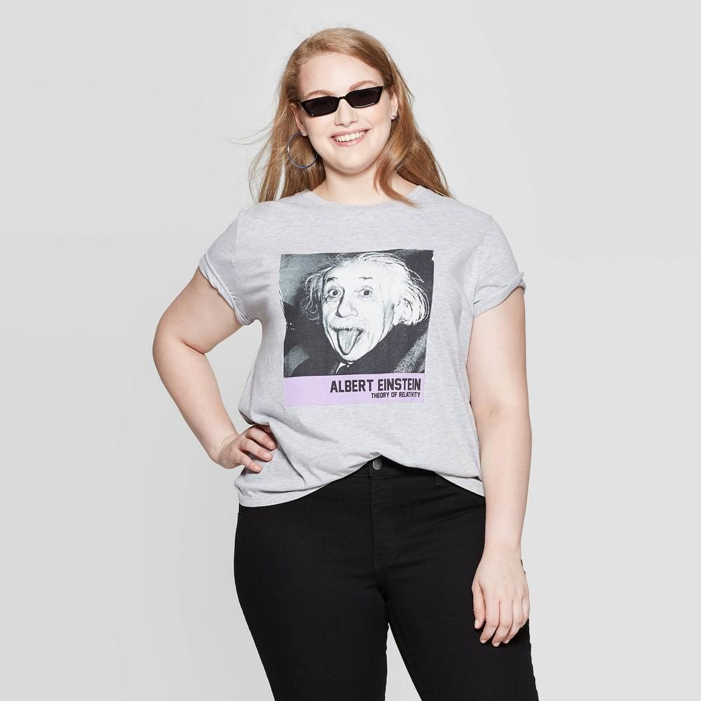 Image of Women's Albert Einstein Plus Size Short Sleeve Graphic T-Shirt (Juniors') - Gray 1X, Size: 1XL