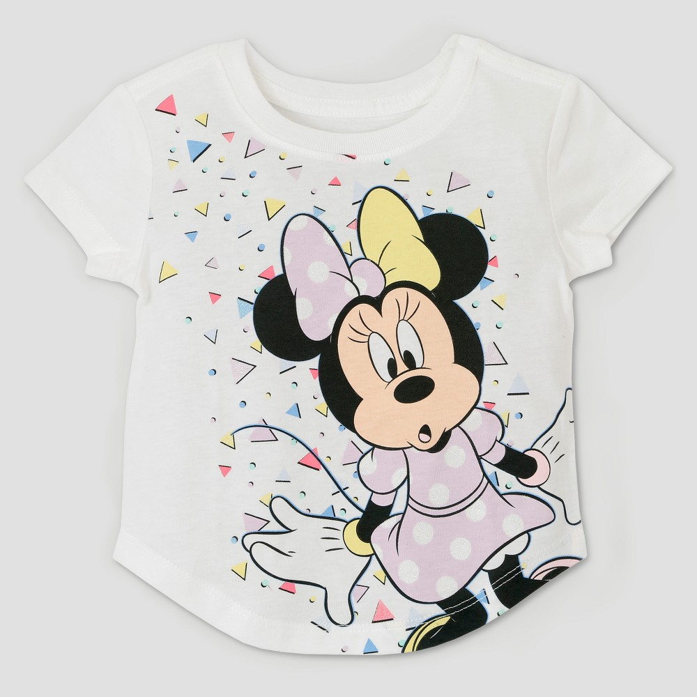 Toddler Girls' Minnie Mouse 90s Short Sleeve T-Shirt - Ivory - 18 M, Size: 18M, White