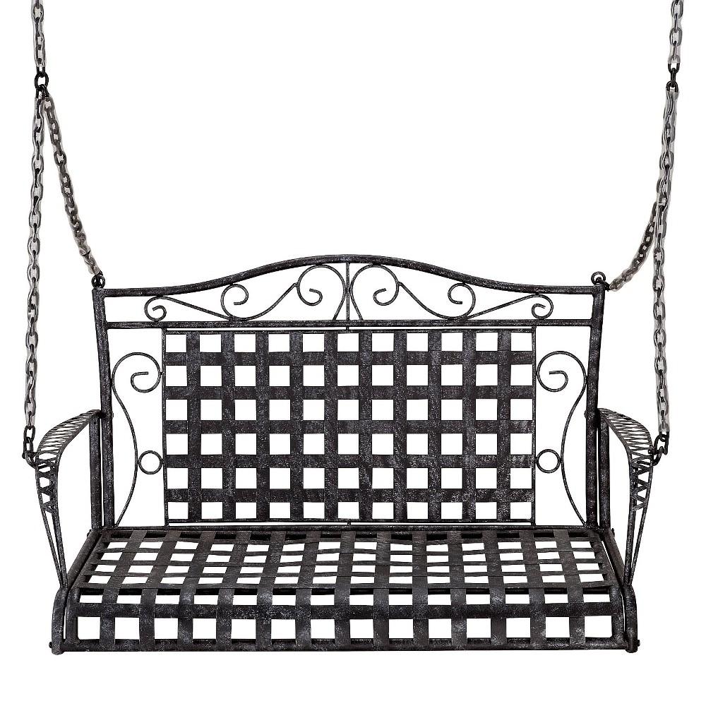 International Caravan Mandalay Iron Hanging Porch Swing - Antique Black