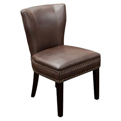 Jackie Leather Accent Dining Chair Brown - Christopher Knight Home