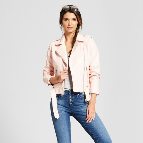 Calvin Klein Womens Faux Suede Moto Jacket Blush Lg Us 12 14 One