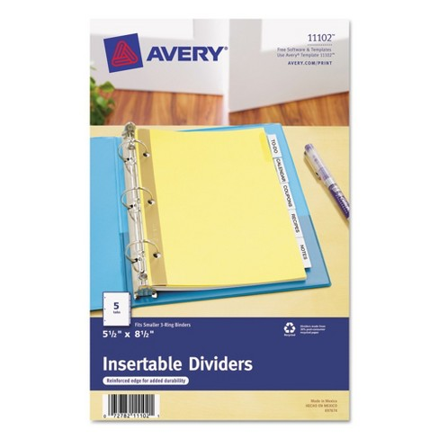Avery Worksaver Insertable Tab Index Dividers 5 Tab 8 12 X 5 12