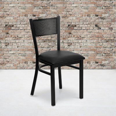 Flash Furniture Black Grid Back Metal Restaurant Chair