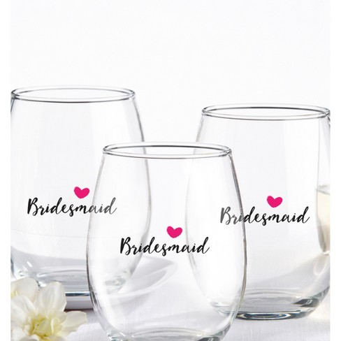 4ct Kate Aspen Bridesmaids Pink Heart 15 Oz Stemless Wine Glass