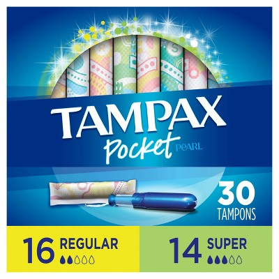 Tampax Pocket Pearl Regular/Super Absorbency with LeakGuard Braid, Duopack & Unscented Plastic Tampons - 30ct