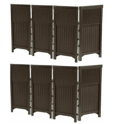 2 Pack Suncast FSW4423 Decorative Outdoor Yard Resin Wicker Screen Enclosures