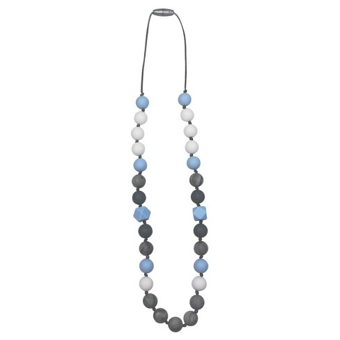 Itzy Ritzy Silicone Teething Necklace  Luxe Denim (Blue) - image 1 of 3