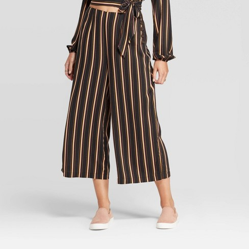 Women's Striped Cropped Pants - Xhilaration™ Black  - image 1 of 2