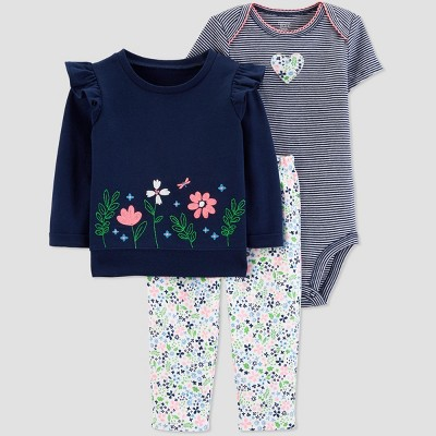 Baby Girls' 3pc Floral Cardigan Set - Just One You® made by carter's Navy Blue/White 6M