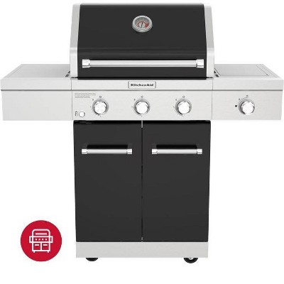 KitchenAid 3-Burner Gas Grill with Searing Side Burner and Grill Cover 720-0953ACCO - Black