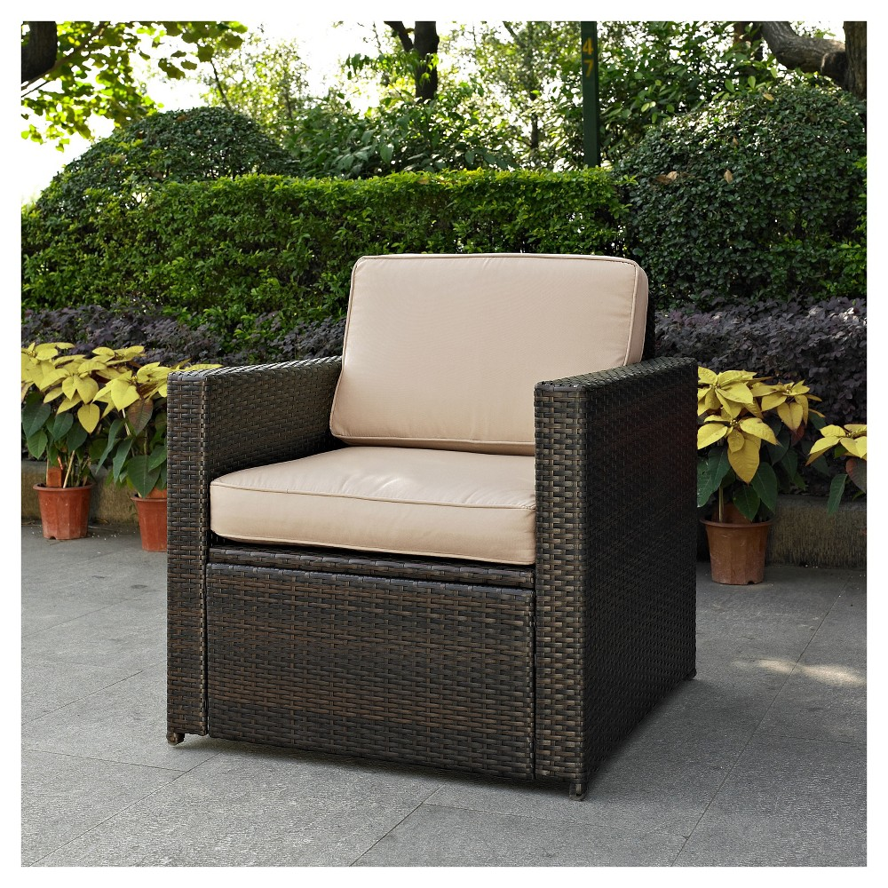 Brilliant Palm Harbor Outdoor Wicker Arm Chair In Brown With Sand Creativecarmelina Interior Chair Design Creativecarmelinacom