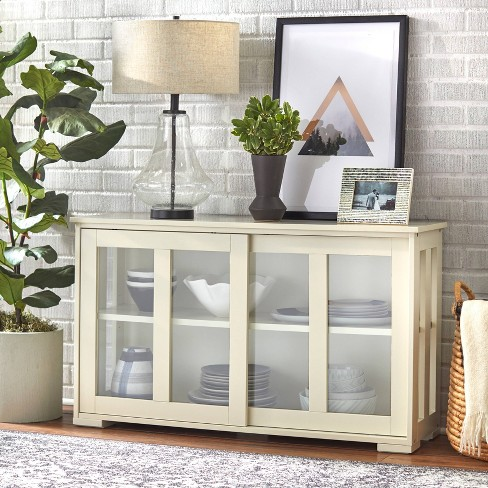 Pacific Stackable Sliding Glass Doors Cabinet Antique White - TMS - image 1 of 4