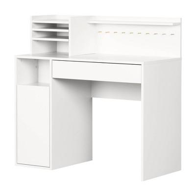 Crea Craft Table Wth Hutch Pure White, Corner Craft Desk