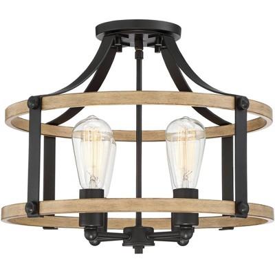 "Franklin Iron Works Rustic Farmhouse Ceiling Light Semi Flush Mount Fixture Faux Wood Black 18"" Wide 4-Light for Bedroom Kitchen"