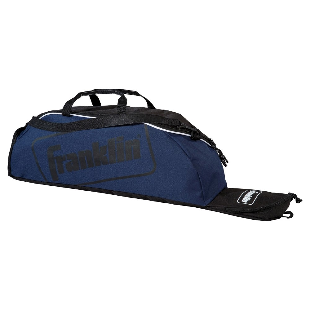 Franklin Sports Junior Equipment Bag - Navy, Multi-Colored The Franklin Sports Junior Equipment Bag has room to hold up to 3 bats and features a ventilated cleat storage compartment for easy storage and transport. Pack up your equipment and start playing with the Junior Equipment Bag from Franklin Sports. Color: Multi-Colored. Age Group: Adult.
