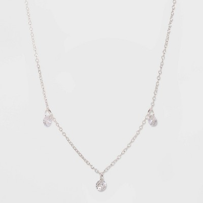 Sterling Silver with Cubic Zirconium Pendant Necklace - A New Day™ Silver